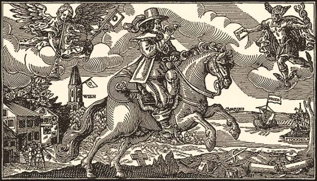 Holzschnitt: Bote reitet vom Schlachtfeld aus über Land - 1648