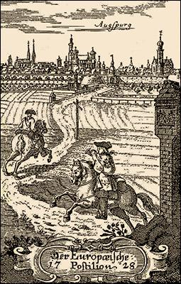 Kupferstich: 2 Reitboten auf dem Weg kurz vor Augsburg - 1728