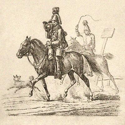 Kohlezeichnung: 2 Postpferde mit Boten im Staub aufwirbelndem Galopp - 1817