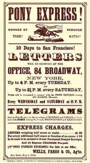 Reklameplakat für den Pony Express - 1860