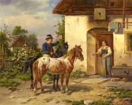 Gemälde: aus ihrem Häuschen kommende Bäuerin streckt Boten die Hand entgegen - 1889