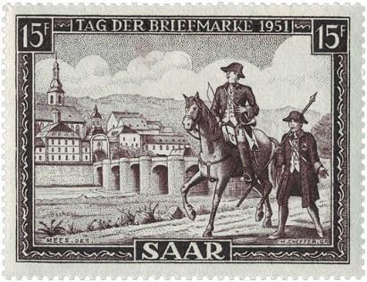 Saar-Briefmarke (1951): Bote zu Pferd neben Bote zu Fuß auf Stück gemeinsamen Weges