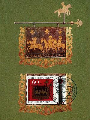Karte + Marke mit Posthausschild, darauf 3 Königl. Postreiter