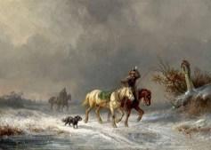 Gemälde: 2 Boten kämpfen sich mit ihren Pferden durch Schneegestöber - 1860