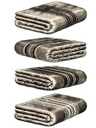 sw illu: 4 Wolldecken mit verschieden gestalteten Randstreifen