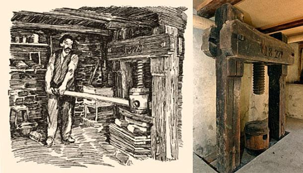 Skizze einer Tuchpresse + Farbfoto vom vorh. Original - 1827, Schweiz