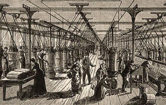 Kupferstich: viele Beschäftigte in großer Halle - 1891