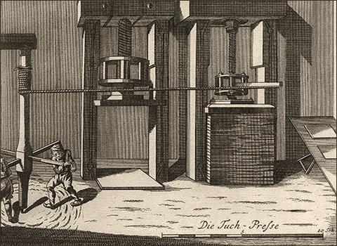 Kupferstich: durch 2 Männer mittels Drehkreuz betriebene Schraubpresse - 1750