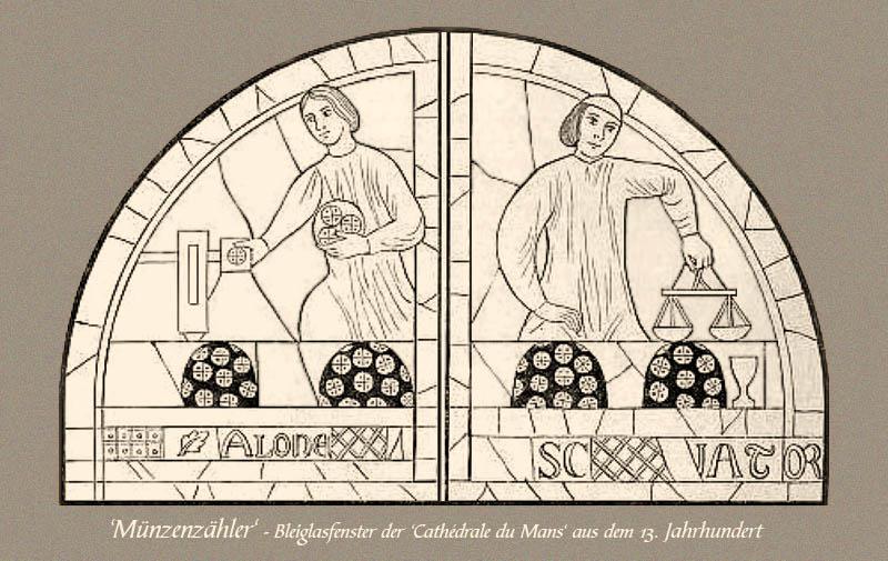 Bleiglasfenster: Münzenzähler - 13. Jh, Frankr.