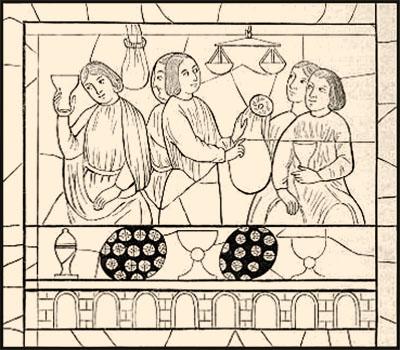 Bleiglasfenster: Männer beim Zählen und Abwiegen von Münzen - 13. Jh, Frankr.
