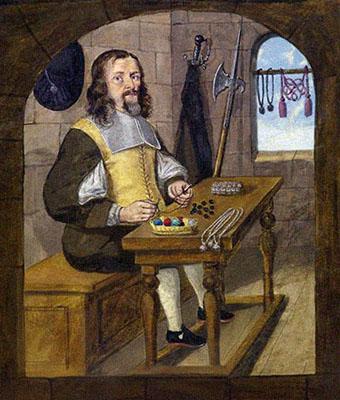 Buchmalerei: Mann verfertigt Knöpfe und Schnüre
