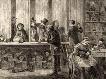 Zeichnung: 2 Pfandleiher in Raum voller Pfäder u. in Kabinen hinter Tresen Wartende -1871, Engl.