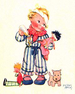 Farblitho: kl. Junge verabreicht kranker Puppe Medizin - 1939, Frankr.