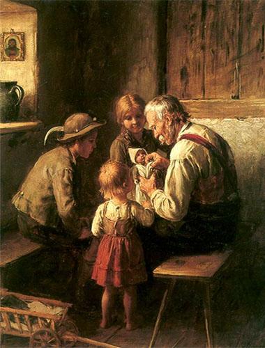 Gemälde: umringt von 3 Kindern macht Opa Püppchen wieder heil - 1880