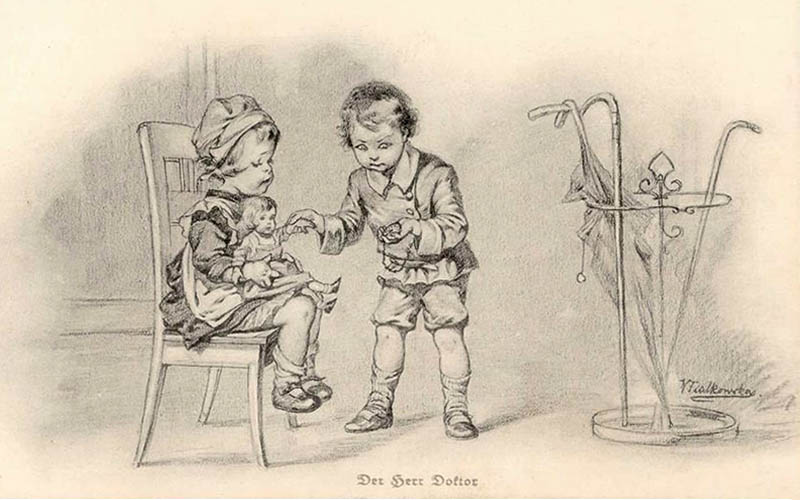 Zeichnung: Bub mit Taschenuhr misst Puls bei Puppe -1910, Österr.