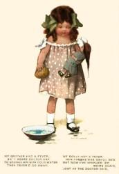 Künstlerkarte: Fräulein Doktor kühlt fiebrige Puppe mit Schwamm - 1920, Engl.