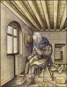 Buchmalerei: Bruder schnitzt Docken - 1558
