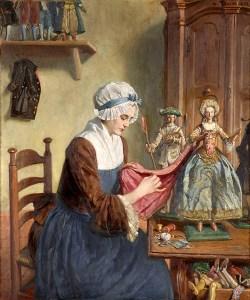Gemälde: Puppenmacherin näht an Puppenkleidung - 1880