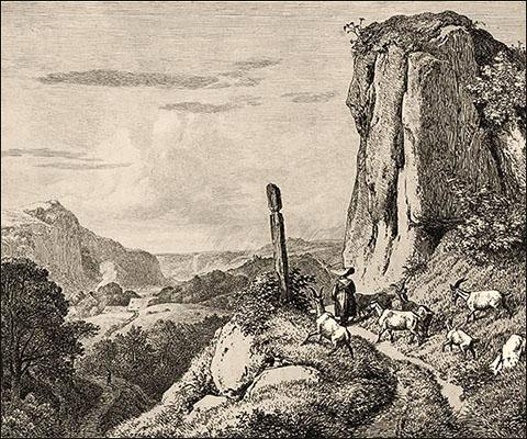 Kupferstich: Hirtin mit Ziegen unterwegs im Gebirge - 1815