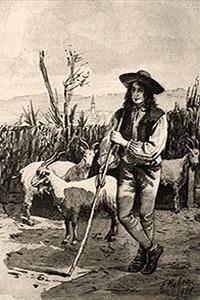 Holzstich: auf Stab gestützter Hirte mit Ziegen - 1890, Italien