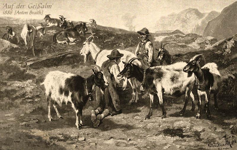 Gemälde: 2 Hirten mit äsender Ziegenherde auf der Alm