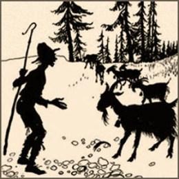 Silhouettenbild: Hirte und Ziegen, eine mit abgebrochenem Horn