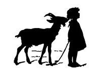 Silhouettenbild: Ziege zupft kl. Mädchen an den Zöpfen