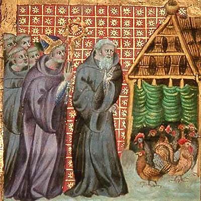 Buchmalerei: Mönche zeigen Bischof ihren Hühnerstall - 1387