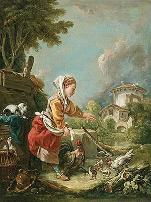 Gemälde: Frau umsorgt kleine Hühnerfamilie - 1759, Frankr.