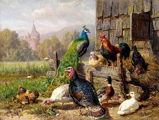 Gemälde: Hühner, Gänse, Truthähne und Pfau vor Holzverschlag - 1901