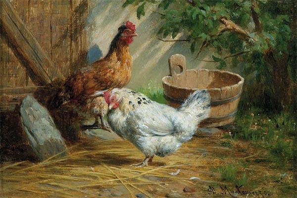 Gemälde: 2 Hühner im Auslauf - 1870