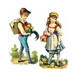 Glanzbilder: Bube mit Hahn + Mädel mit Kücken ~1900