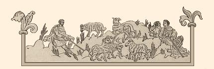Miniaturbild: Hirten mit Schafen auf Hügeln - 12. Jh