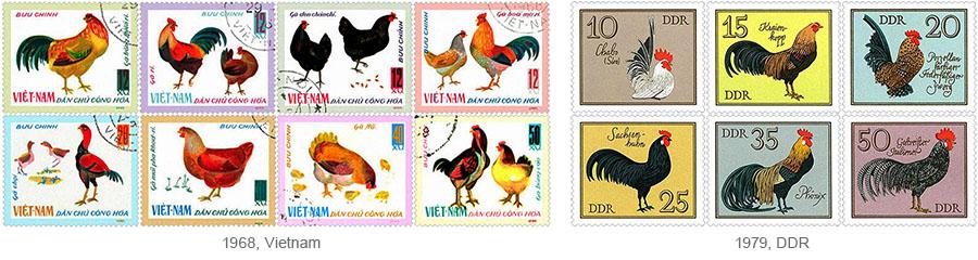Briefmarkensätze: Hühnerrassen - 1968, Vietnam / 1979, DDR