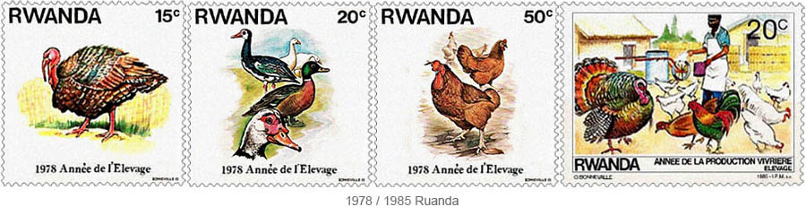 Briefmarken: Nutzgeflügel - 1978/1985 Ruanda