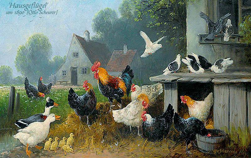 Gemälde: Geflügelhof mit Enten, Tauben, Küken, Hühnern und Hahn