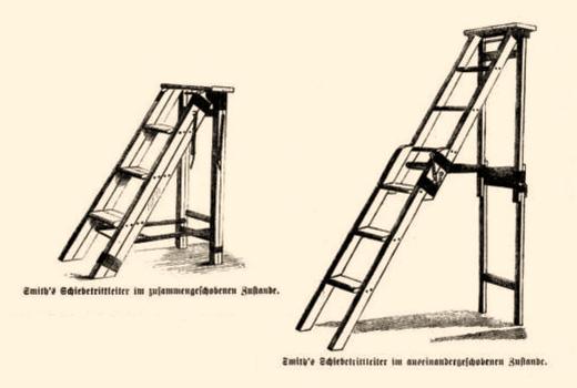 Zeichnung: Schiebetrittleiter, zusammen- und auseinandergeschoben - 1867