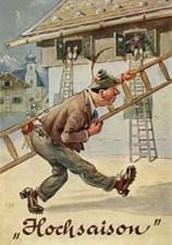 gemalte Humorpostkarte: Männer beim Fensterln mit Leitern ~1950
