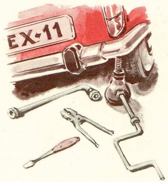illu: Wagenheber und Werkzeug liegen am Auto