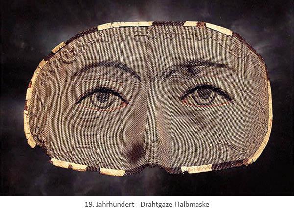 Farbfoto: Halbmaske (Augen bis Nase) aus Drahtgaze - 19. Jh
