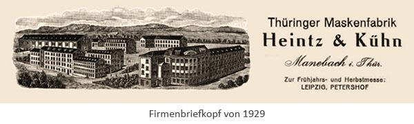 Firmenbriefkopf: 'Heintz & Kühn' - 1929, Manebach