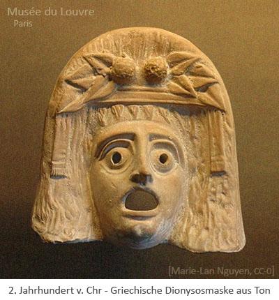 Farbfoto: Griechische Satyrmaske aus Ton - 2. Jh.v.Chr