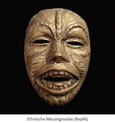 Farbfoto: Ethnische Maske aus Messing (Replik)
