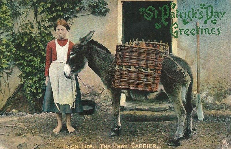 kolorierte Postkarte: barfüßiges Mädchen neben Transportesel