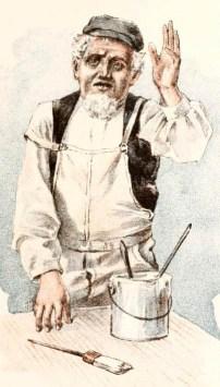 illu: Maler in Latzhose mit Farbtopf