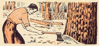 illu: Mann beim Holzfällen