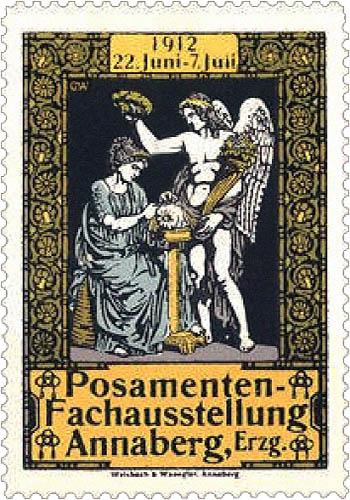 Werbemarke: Posamenten-Fachausstellung in Annaberg - 1912