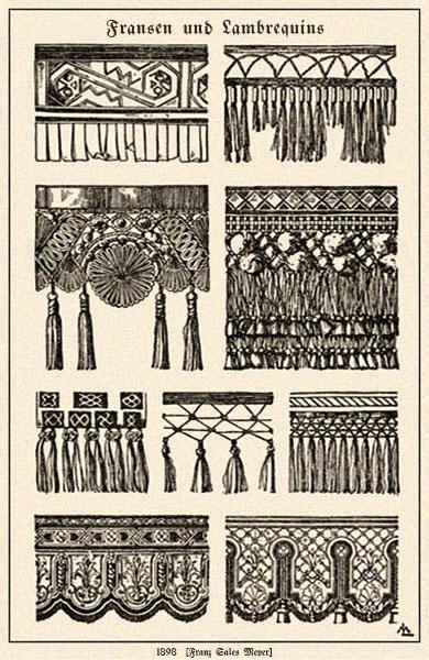 Zeichnung: diverse Fransenborten und Lambrequins - 1898
