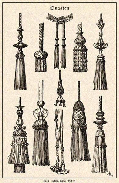 Zeichnung: diverse Quasten - 1898