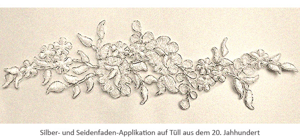 Silber- u. Seidenfaden-Applikation aus Tüll - 20. Jh